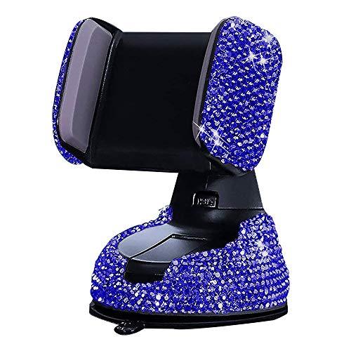 KABIOU Soporte universal para teléfono de coche con diamantes de imitación para iPhone, Samsung, color azul