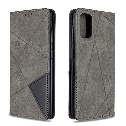 Tosim Galaxy A41 Hülle Klappbar Leder, Brieftasche Handyhülle Klapphülle mit Kartenhalter Stossfest Lederhülle für Samsung Galaxy A41 - TOBFE190150 Grau