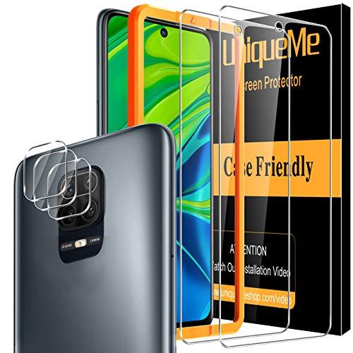 UniqueMe [2+3 Pezzi] Pellicola Protettiva per Xiaomi Redmi Note 9s / Note 9 PRO, [2 Pezzi] Vetro Temperato Pellicola e [3 Pezzi] Pellicola Fotocamera, 9H Hardness [con Cornice di Installazione]