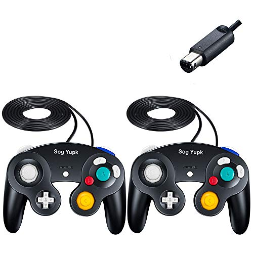 Gamecube Controller, SogYupk Wired Controllers Classic Gamepad 2 Pack Joystick for Nintendo and Wii Console Game Remote (Black)