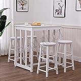 Moderna de Madera Mesa de Comedor y 4 taburetes fijos para el Desayuno Cocina Comedor, sólido Pino-White, 80x60x90cm / 30x30x60cm,Grey