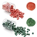 Quanerba 400 Piezas Octagonal Cuentas de Cera de Sellado, Combinaciones de 2 Colores, Sealing Wax Beads para Invitación de Boda de la Postal del Sobre Sello (Verde + Rojo)