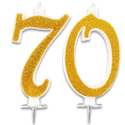 Bougies maxi 70 ans pour décorations de gâteau, fête, 70ème anniversaire, idées, fête à thème, hauteur, 13 cm, doré pailleté