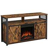 VASAGLE TV Cabinet with Fireplace, TV Stand for TVs up to 60 Inches, with Barn Doors, Adjustable Shelves, Industrial Style, Rustic Brown and Black ULTV053B01