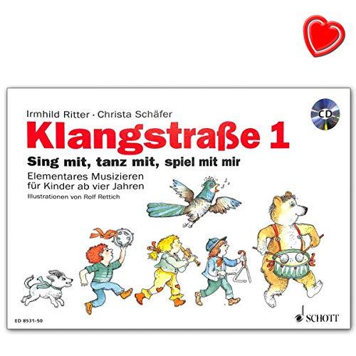 Klangstraße 1 - Kinderheft mit CD, mit Elterninformationen, Anwesenheitsheft und Arbeitsblättern - Notenbuch mit bunter herzförmiger Notenklammer - ED8531-50 9783795709273