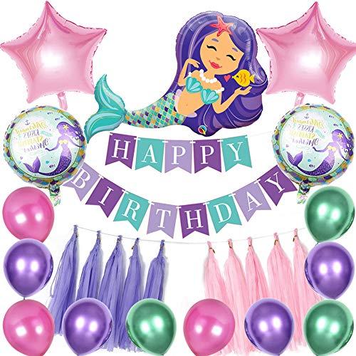 Sunshine smile Meerjungfrau Deko Kindergeburtstag, Meerjungfrau Thema Party Dekoration, Meerjungfrau Luftballons Set, Meerjungfrau Ballon für Mädchen, Meerjungfrau Geburtstagsdeko mit Banner