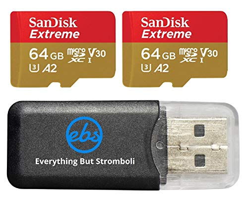 SanDisk 64GB Micro SDXC Extreme Memory Card (Two Pack) Bundle SDSQXA2-064G-GN6MA Works with GoPro Hero 7 Black, Silver, Hero7 White UHS-1 U3 A2 plus (1) Everything But Stromboli (TM) Micro Card Reader