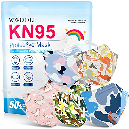 WWDOLL Kids KN95 Masks 50 Pack, 5-Layer Breathable Cup Dust Mask for Children, Kids Disposable Face Masks with Adjustable Nose Clip