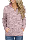 Acelitt Women Casual Winter Long Sleeves Collar Quarter Zip Fleece Pullover Sweatshirts Pockets Pink Medium