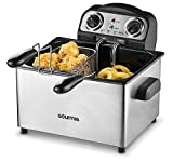 Gourmia GDF475 Electric Deep Fryer - 3 Baskets -Timer and Temperature Control - 4.2L Removable Oil Tank - 18 Cups - 4lb Food Capacity - Anti-Odor Filter Lid - 1650W- Stainless Steel - Free Recipe Book