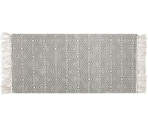 U'Artlines Teppiche aus Baumwolle mit Quasten Bedruckter Handgewebter, Waschbarer Teppich Matteneingang für Schlafzimmer, Waschküche Grau 60 * 130cm
