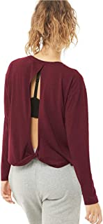 Womens Workout Yoga Gym Top Long Sleeve Loose Twisted Open Back Shirt Sweatshirt