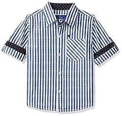 612 League Boys Plain Regular fit Shirt Blue