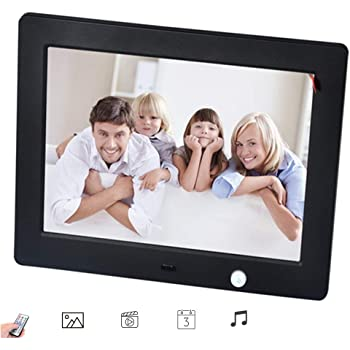 Mains Powered with USB and SD Card Port Support Music Playback Video Playback,Gold 7 inch Digital Photo Frame High Resolution with Remote