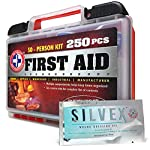 Be Smart Get Prepared First Aid Kit, 250 Piece Set 1 Count 16 250 pieces of comprehensive first aid treatment products. Manufactured by the leading manufacturer of First Aid Kits in the USA. Meets or exceeds OSHA and ANSI 2009 guidelines for 50 people. Ideal for most businesses and perfect for family use at home. Fully organized interior compartments provides quick access. Rugged, sturdy hard plastic case is impact resistant