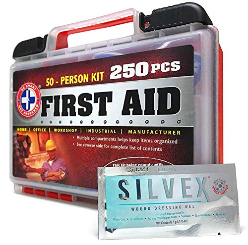 Be Smart Get Prepared First Aid Kit, 250 Piece Set 1 Count 7 250 pieces of comprehensive first aid treatment products. Manufactured by the leading manufacturer of First Aid Kits in the USA. Meets or exceeds OSHA and ANSI 2009 guidelines for 50 people. Ideal for most businesses and perfect for family use at home. Fully organized interior compartments provides quick access. Rugged, sturdy hard plastic case is impact resistant