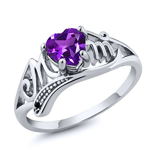 Gem Stone King 925 Sterling Silver Heart Shape Mothers Day Purple Amethyst and Black Diamond Mom MOM...