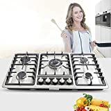 23'/33.8' Gas Cooktop 4/5 Burners Gas Stove Cooktop Built-In Convertible Natural Gas Propane Cooktops Stainless Steel Gas Hob Cooktop NG/LPG (5Burners, 86.50cm)