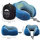 SilverRack Memory Foam Reise Nackenkissen (blau) als Nackenhörnchen - Flugzeug Kissen für erholsames und entspanntes Reisen - Praktisches Travel Pillow Reisekissen für Kinder und Erwachsene - 3
