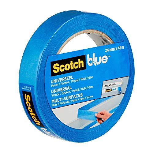 ScotchBlue Premium Malerkrepp Universal, 24 mm x 41 m - Vielseitiges Scotch Klebeband für Malerarbeiten und Dekoration, für Innen und Außen, Abklebeband / Kreppband