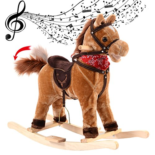 COSTWAY Rocking Horse with Music Function, Handle Grip, Active Mouth, Wagging tail, 40KG Capacity, Kids & Children Traditional Toy (Brown)