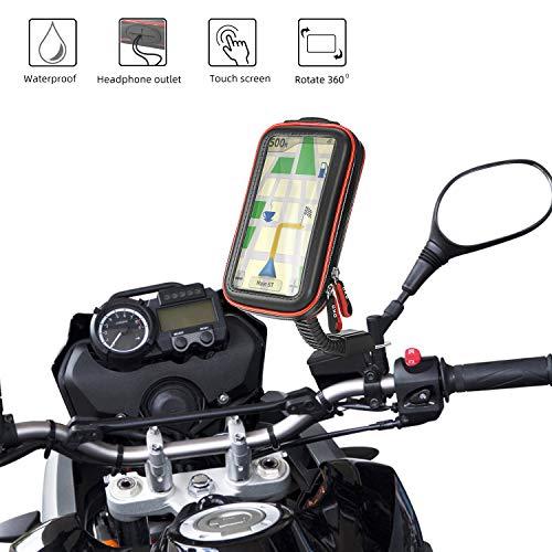 Rupse Motorrad Handyhalterung, Wasserdicht Motorrad Halterung 360°drehbar mit Touch-Screen GPS Handytasche Kopfhöreranschluss, Motorrad Tasche Halterung des Rückspiegel für Smartphone 4.7
