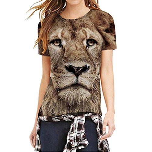 DEATU Women Mode 3D Print Vivid Lion Casual Short Sleeve Top Blouse Funny T Shirts (XL, Brown)