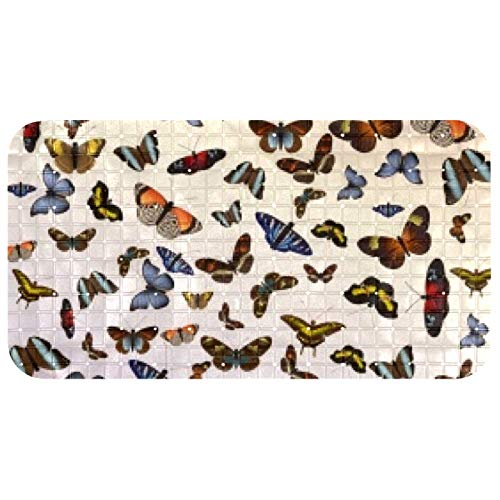 Bennigiry 37.5x68.5 cm Bath Mat for Tubs for Kids, Toddler, Baby and All The Family PVC Phthalate Free Butterfly Swarm Flight
