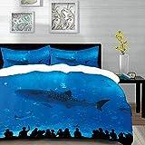 ropa de cama - Juego de funda nórdica, tiburón, parque del acuario japonés con siluetas de personas que miran la imagen de la vida submarina Hobby, azul, juego de funda nórdica de microfibra con 2 fun