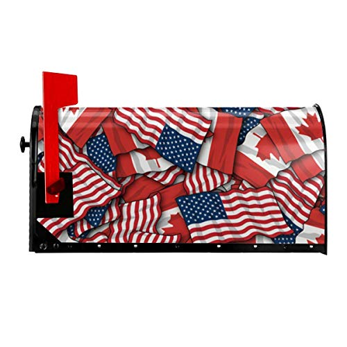 Odeletqweenry Canadese Amerikaanse Vlag Print mailbox Cover Magnetische mailbox Wraps Post Letter Box Cover Standaard Grootte 21 x 18 Inch Waterdichte Canvas Mailbox Cover