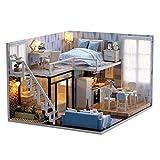 S.T DIY kleine Puppenhaus Villa hellblaue Zeit aus Holz handgefertigt zusammengebautes Spielzeug...