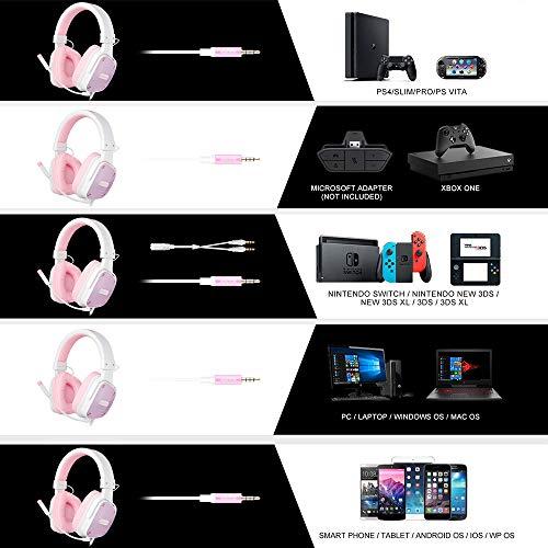 SADES [Angel Edition] DPOWER Over-Ear-Gaming-Headset, 3,5 mm Klinke, Stereo-Headset mit Mikrofon, Geräuschunterdrückung, für Nintendo Switch, PS4, Xbox One, Computer