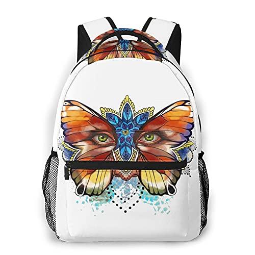 Yaxinduobao Butterfly-Face Mochila de viaje Unisex Travel Backpack Laptop Bag Computer Bag Work Backpack Gym Sports Bag 11.5x16 In
