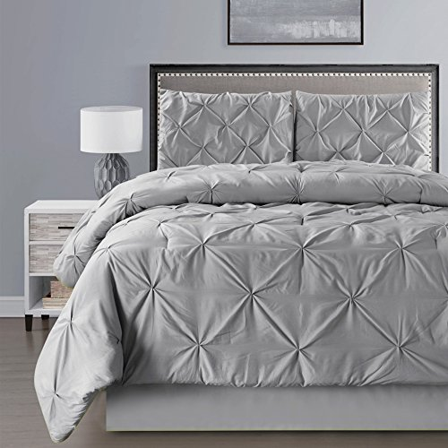 Grand Linen 4 Pieces Double-Needle Stitch Goose Down Alternative Pinch Pleat Solid Grey/Gray Comforter Set (California) Cal King Size Bedding - Hypoallergenic, Plush Siliconized Fiberfill