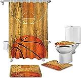 CJSZSD Juego de cortinas de ducha de baño y alfombras de baloncesto con diseño de rayas de bola de baño con tapa de inodoro de baño de cortinas de ducha a prueba de agua Set accesorios