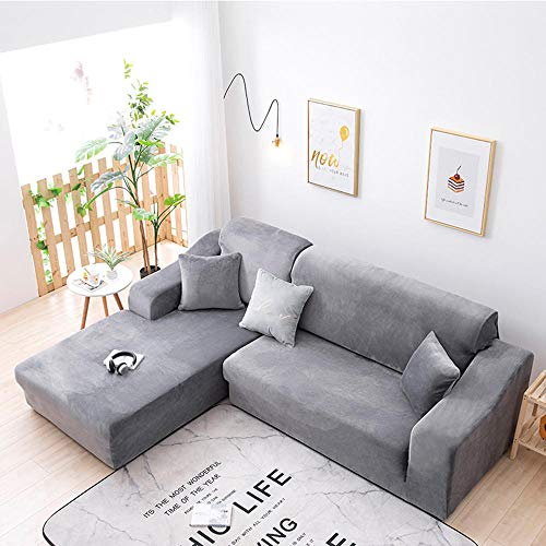High Stretch Sofa Cushion Covers,Winter all-inclusive sofa cover, universal stretch padded sofa cushion, chaise longue non-slip cover-light grey_1 person (90-140cm)