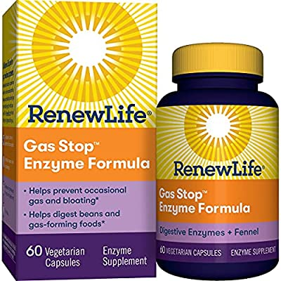 Renew Life Adult Plant-Based Enzyme Supplement - Gas Stop Enzyme Formula, Dairy Free - 60 Vegetarian Capsules