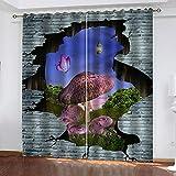 Agvvseso 2 Paneles/Juego de Cortinas de Ventana 3D Seta de Planta de Pared Rota Creativa Impresión de Cortinas para Dormitorio Elegante Adorno de Hotel para el hogar Separadores de Habitaciones (W