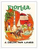 Pacifica Island Art Florida - Golf, Carreras de Caballos y Kennedy Space Center - Delta Air Lines - Póster Viaje Línea aérea de Fred Sweney c.1960s - Impresión de Arte 51 x 66 cm