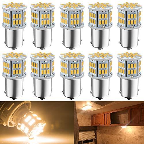 DEFVNSY 10PCS Blanco cálido 3000K 1156 BA15S 1141 1003 1073 7506 Bombillas LED 3014 54-SMD Lámparas para 12V-24V Interior RV Camper Iluminación de Remolque Botes de luz para Patio