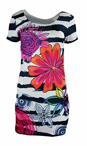 TATTOPANI Dames Jurk met Korte Mouwen met Multi kleuren Patroon Print