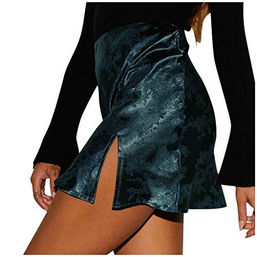 ELECTRI Femmes Fashion GirlsSatin en Dentelle Jupe plissée Uniforme Robe de Soirée Courte Taille Haute Fermeture Eclair Sexy et Elégant Courtes Skater Mini-Jupe Jupes Crayon Moulante