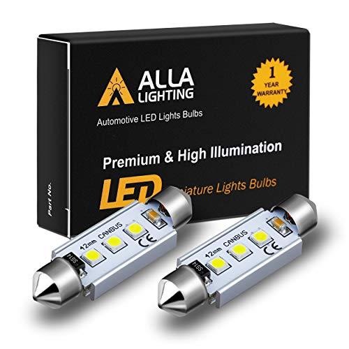 Alla Lighting CANBUS 211-2 578 LED Bulbs Super Bright 41mm 42mm Festoon 3030 SMD 212-2 569 6413 Interior Map, Dome, Trunk, Step Courtesy Lights, 6000K Xenon White