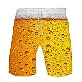 WINJIN Short Hawaïen Homme Short de Plage Imprimé Bière 3D Bermuda Casual Short Sport Homme Pas Cher Pantalon Courte Musculation Maillot de Bain Fantaisie Homme Été