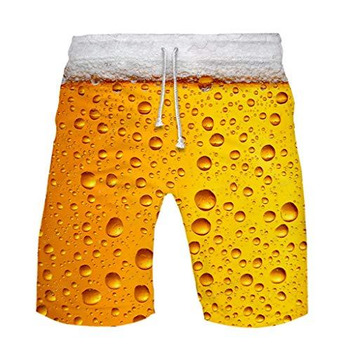 JiaMeng-ZI Pantalones para Hombre Impresión de Cerveza Estilo Hawaiano Verano Pantalones Cortos Casuales Ligeros Transpirables Pantalones Cortos de Playa con Cintura Elástica Sport Shorts Pants