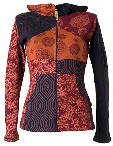 Vishes – Alternative Bekleidung – Kurze, leichte Patchworkjacke aus Baumwolle mit Kapuze schwarz-rot 44/46