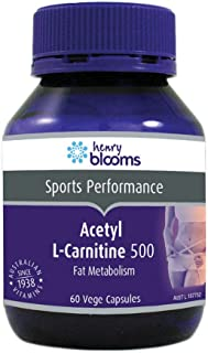 Henry Blooms 500mg Acetyl L-Carnitine Fat Metabolism 60 Vegetarian Capsules