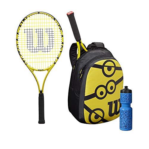 Wilson Minions 25 Set de raquetas de tenis, Para niños de 9 a 10 años, Incluye mochila y botella de agua, Amarillo/Negro, WR064310F001