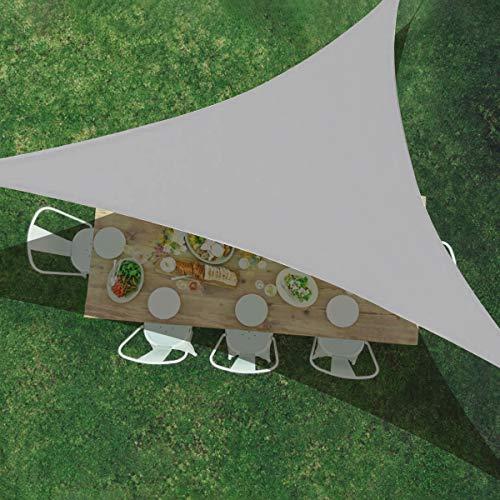 TOPCHANCES Dreieckiges Sonnensegel, 3 m x 3 m x 3 m, UV-Schutz, wasserdichter Stoff, perfekt für Terrasse, Garten, Außenanlagen und Aktivitäten (3 x 25 x 25 cm)