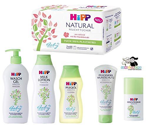 Hipp Baby-Pflegeset bestehend aus: Lotion 350ml, Gesichtscreme 50ml, Wundschutzcreme 100ml, Pflegeöl 200ml, Waschgel 400ml, Feuchttücher 2x60 Tücher